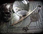 Samhain Spider and Golden Web Bookmark or Hairstick for Bibliophiles, Wiccan Pagan Witch