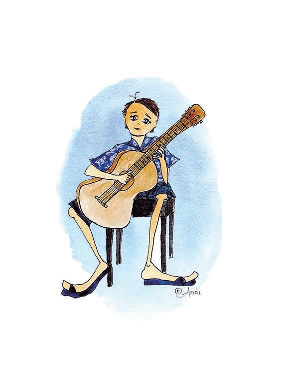 Guitar Boy Birthday Cards set of 6 -- Free Shipping!