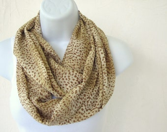 Double Loop Infinity Scarf, Buttery Soft  in Creamy Nougat and Coffee Liqueur Tan is Handmade