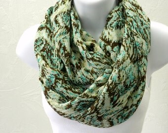 Gauze Infinity Scarf Brown Turquoise Green Fall Fashion Double Loop Scarf by Thimbledoodle