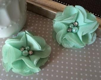"Chiffon Flowers Mint Green with rhinestones & pearl centers (4 pcs) Whitney shabby chiffon layered flowers 2.5"" Hair shoe headband"