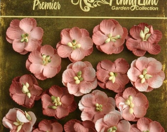 small Antique Rose Pink paper Flowers Forget me Nots 1837-059 (16 count) wedding invitation embellishment paper crafting flower scrapbooking