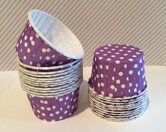 Purple Polka Dot Baking cupcake liners  muffin cups  candy cups nut  Ice cream cup treat  dessert cups - (24) count