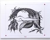 YOGA ART Greeting Card FISH Pose  - 5x7 from Original Ink Drawing, Home Decor, Yoga Studio Decor