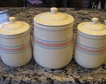 McCoy Pink and Blue banded Canister, Sugar Jar, Coffee Jar