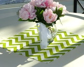 Chartreuse Chevron Table Square Topper for Wedding Decor, Birthday Parties, Party Decor, Holidays