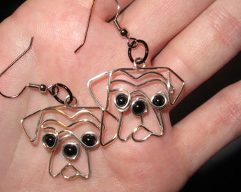Wire Wrapped Dog Head MADE to ORDER Earrings