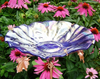 "BIRD BATH, 8"" diameter, Iridescent, Stained Glass, Copper, Smoky Violet, Home Decor, Garden Art"