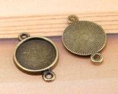 20pcs Circle Cabochon Setting Base Antiqued Bronze DIY Kit Fit Necklace Bracelet Pendant Jewelry Filigree fit 10mm 12mm 14mm 16mm cabochon