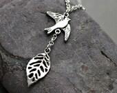 Black Friday sale Assymetric Silver Bird Necklace, Sparrow Necklace, Bird Lariat Silver Branch Jewelry pendant beadwork strand statement eco