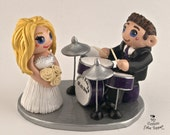 Bride and Groom Playing Drums Custom Wedding Cake Topper