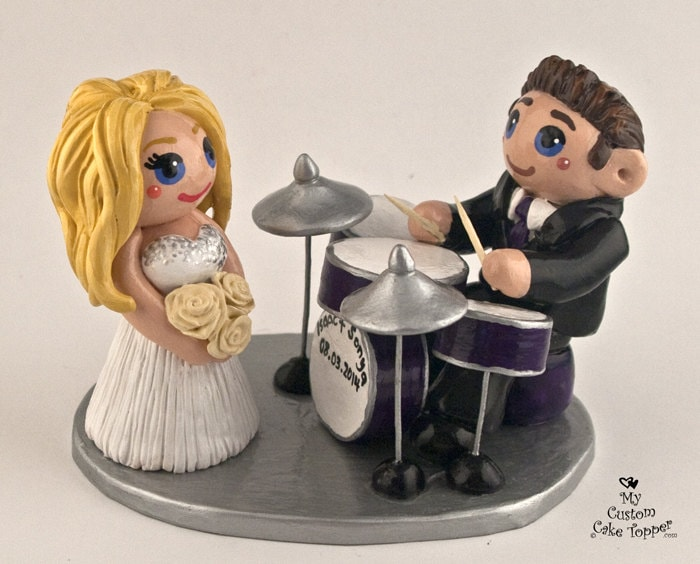 drum wedding cake toppers and groom drums custom wedding cake topper 13758