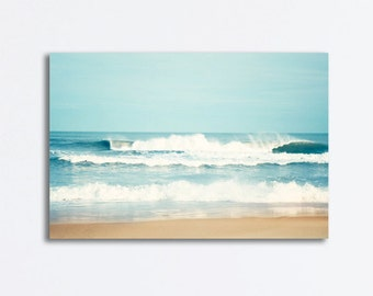"Large Ocean Canvas - seascape wall art sea blue waves beach canvas gallery wrap nautical wall hanging seashore photography, ""Salty Sea Air"""