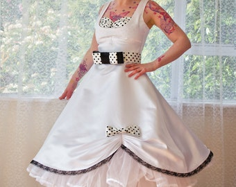 1950s Pin Up 'Audrey' Wedding Dress in a with Polka Dot Bodice, Belt and Organza Petticoat Tea Length  - custom made to fit