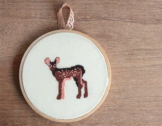 "Embroidery in wooden hoop - Deer fawn embroidery 5"" - Woodland art - OOAK"