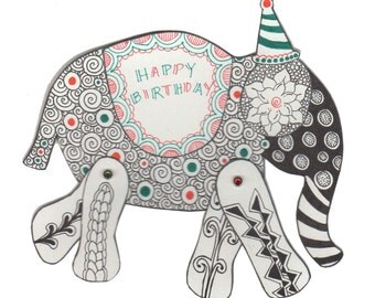 Downloadable Tangle Your Own - Elephant Card