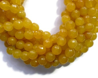 Apricot Yellow Jade - 10mm Faceted Round - 39 beads - Full Strand