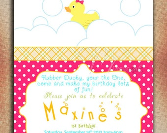 Duck Themed Baby Shower, Duck Baby Shower Invitations, Rubber Ducky First Birthday, Rubber Duck Birthday Invitation, Rubber Duck Party