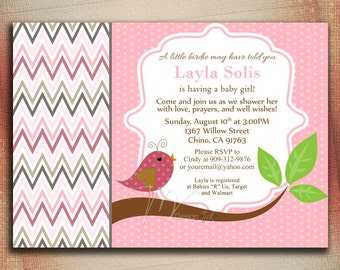Little Birdie Baby Shower Invitation, Chevron Pink and Gray Baby Shower Invite, Baby Shower Invitation Pink-Digital File You Print