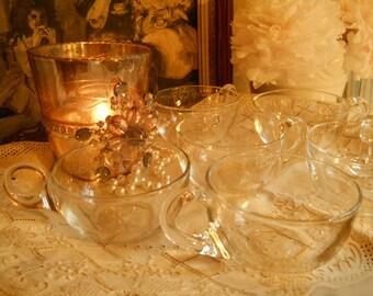 1940's Clear Glass Cups Set of 6- Vintage Housewares Each Handle Put on Separately Vintage Party Supplies Vintage Party Cups  Paris Apt