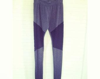 Women's Lace Panel Leggings - Grey/Black