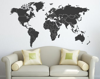 World Map Decal with Countries Borders