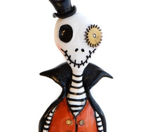 Steampunk Art Doll - Halloween Art Doll - Halloween Skeleton- Steampunk Victorian - MADE TO ORDER