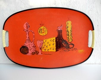 Mid-Century Serving Tray . Italian Meal