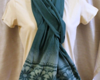 Teal green cotton jersey color removal scarf printed lacy shaded flowers wrap stretchy
