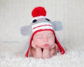 Sock Monkey Knit Baby Hat, Newborn Photography Prop