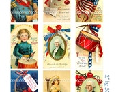 Digital Clipart, instant download vintage 4th of July, George Washington cherries cherry American flag--digital collage sheet (8.5by11) 1482