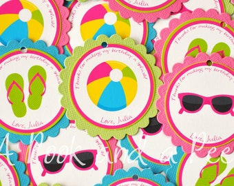 Bright Beach Summer Pool Party Themed Girl Favor Tag Stickers Blue Pink Green Yellow - Set of 12