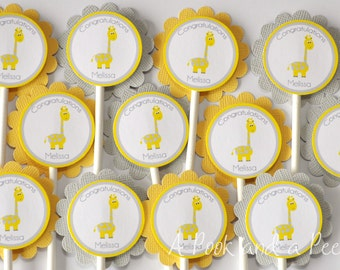 Yellow and Gray Giraffe Baby Shower Cupcake Toppers Personalized Cupcake Picks