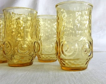 7 Vintage Yellow Juice Glasses Set - Anchor Hocking, Heritage Hall, Drinking Glass, Textured, Circle, Bulls Eye, Lemon, Mid Century Modern