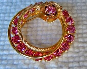 Vintage Pink Rhinestone Circle Brooch