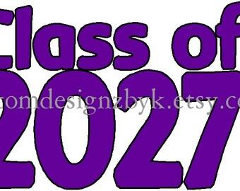 iron-on shirt decal Class of 2027 kindergarten