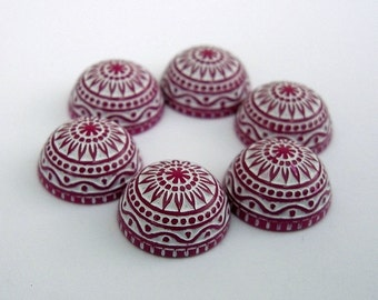 Vintage  Cabochons Etched Mosaic  Pink and White 12mm.
