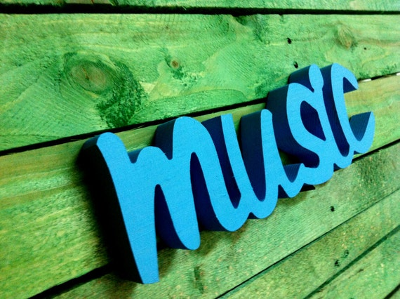 Wood Sign Word MUSIC Wooden Sign Script Home Decor Wall Decoration