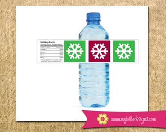 Instant Download Printable DIY Holiday Water Bottle Labels -  christmas new year happy holidays snowflake red green