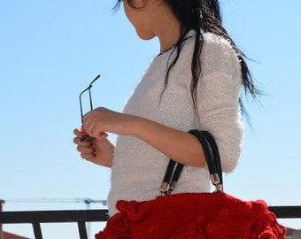 Handbag // Handmade Red  Knit Bag, Celebrity Style,Crochet winter  bag-Nr:201-Gifts for mom,teacher gift