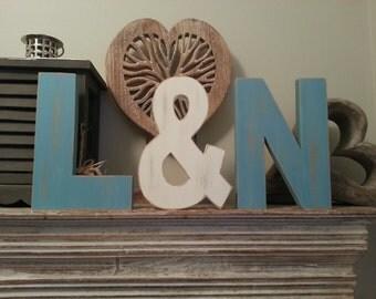 Set of 3 - Handpainted Freestanding Wedding Letters, Photo Props - 28cm