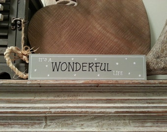 Christmas Freestanding Wooden Sign - It's a wonderful life