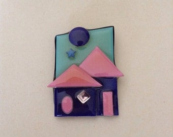 Vintage Pink and Blue House Pin by Lucinda