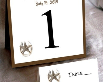 10 Western Rustic Table Numbers and 100 place settings