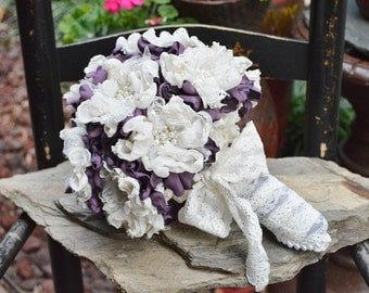 Forever Bouquet in Victorian Lilac/Ivory with Pearl/Rhinestone Flowers