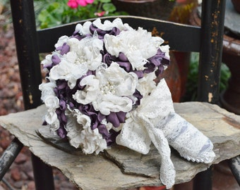Forever Bouquet in Victorian Lilac/Ivory with Pearl/Rhinestone Flowers - REDUCED PRICE