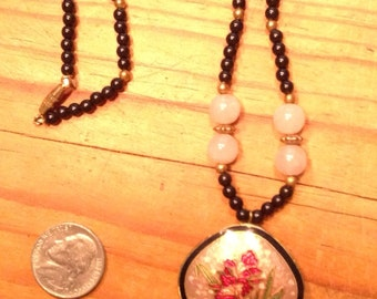 SALE! Enameled necklace, flower, brass, black bead and faux pearl, 30 inch long, pendant 1-3/8.