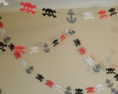 Pirate Party Decorations / 10 ft Mini Paper Pirate Garland / Skulls and Anchors Garland/ Pirate Birthday Decorations/ Pirate Party
