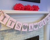 Baby Shower Decorations  /It's a Girl Banner / Pink and Gray Baby Shower Decor / Damask Nursery Decor / You Choose the Colors