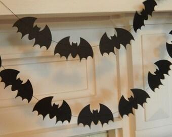 Paper Bat Garland /Halloween Decor / 6ft Black Bats Garland /Halloween Party Decor /Halloween Garland /Halloween Photo Prop